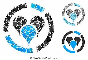 Geo location diagram Mosaic Icon of Abrupt Items