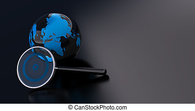 geo location - eath and magnifying glass over a black...