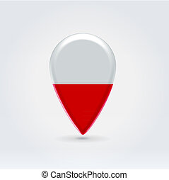Geo location national point label - Glossy colorful Poland...