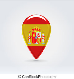 Geo location national point label - Glossy colorful Spain...