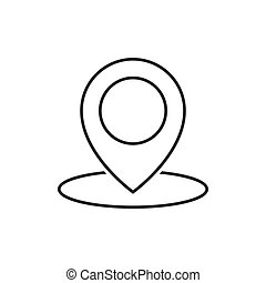Geo location pin line icon on white background