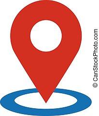 geo, lokalisering, stift, vektor, ikon