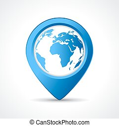Geo map pin on white background