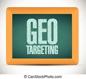 geo targeting sign on a board. illustration