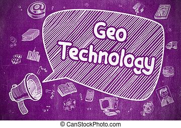 Geo Technology - Cartoon Illustration on Purple Chalkboard.