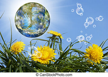 Geo technology.Nature background.Climate