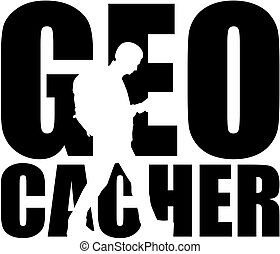 Geocacher word with silhouette