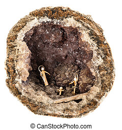 Geode crib - a small crib inside a hollow geode isolated...