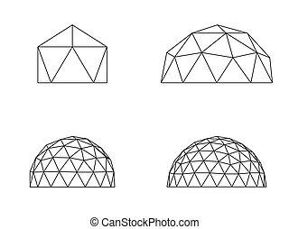 Geodesic domes vector illustration line illustration on white background