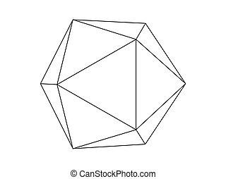 Geodesic sphere line illustration vector isolated on white background