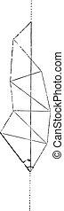 Geodesic triangulation, vintage engraving. - Geodesic...