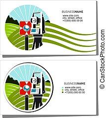 Geodesy and cadastre business card for surveyor
