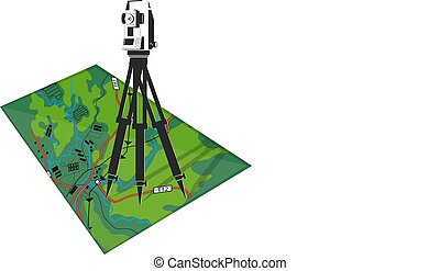 Geodesy and cartography illustration - Geodetic tool and map...