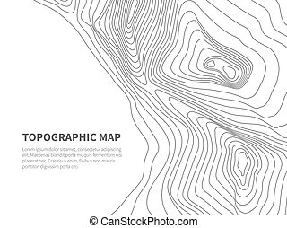 Geodesy contouring land. Topographical line map. Geographic...