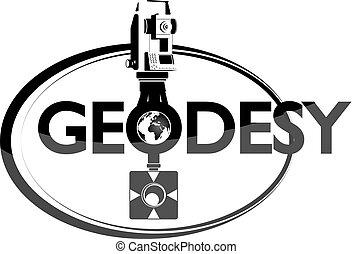Geodesy symbol with tool for surveyor