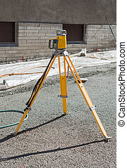 Geodetic device on the construction site.