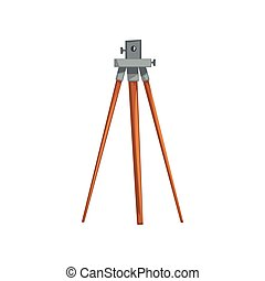 Geodetic leveling instrument, geological or mining industry equipment vector Illustration on a white background