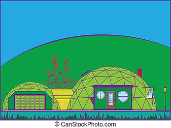 GeoDome House - geodome house vector illustration clip-art...