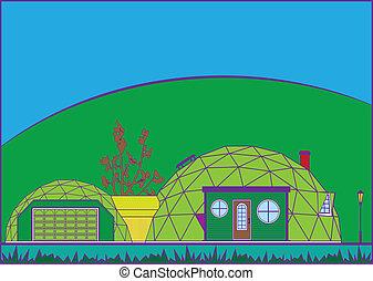 GeoDome House - geodome house vector illustration clip-art...