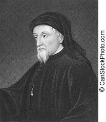 Geoffrey Chaucer (1343-1400) on engraving from the 1800s....