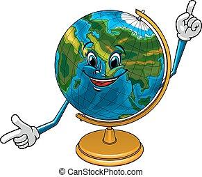 geográfico, carácter, globo, caricatura, escuela