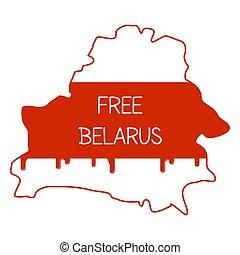geográfico, colores, belarusian, demostración, dentro, nacional, país, sangre, subtítulo, violencia, contorno, colocado, belarus., dictatorship., drops., libre, vector., nuevo, map., bandera, pacífico, personas.