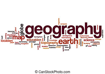 geografía, palabra, nube, concepto