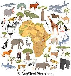 geografi, kollektion, fåglar, vit, liv, isolerat, set., karta, fauna, bygga, lägenhet, afrika, äga, djuren, stor, konstruktör, hav, din, flora, infographics, elements.