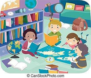 geografi, stickman, rum, lurar, illustration, läsning