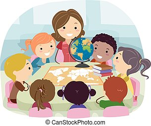 geografia, classe, stickman, insegnante, bambini, illustrazione