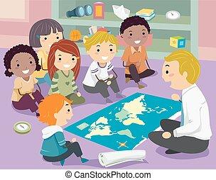 geografia, crianças, stickman, professor, classe