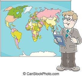 geografia, lição, professor