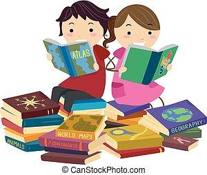 geografia, libri, stickman, lettura, bambini