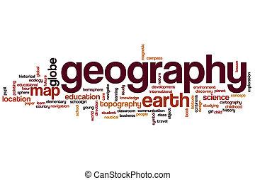 geografia, palavra, nuvem, conceito