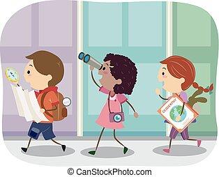 geografia, stickman, esterno, bambini, illustrazione