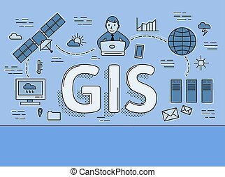 Geographic Information System, GIS explained. Infographic flat vector illustration. Horizontal