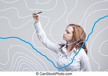 Geographic information systems concept, woman scientist ...
