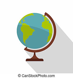 Geographic planet icon, flat style.