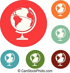 Geographic planet icons circle set vector