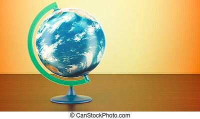 Geographical globe of planet Earth rotation, 3D rendering on...