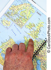 Geographical map of Northern Europe, detailed view of Northern Europe countries, points on the map with a finger