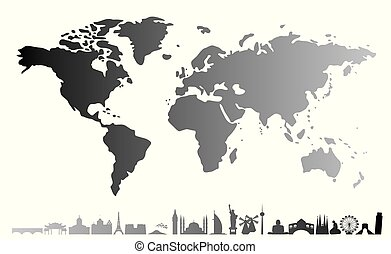 geographical map of the world with different landmarks