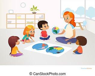 geographie, lektion, sitzen, schulkinder, vektor, advertisement., earth., ungefähr, landkarte, abbildung, modell, demonstriert, sie, lehrer, postkarte, hauptsächlich, concept., planet, welt, weibliche , plakat, rothaarige