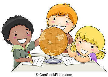 A Small Group of Kids Studying a Globe