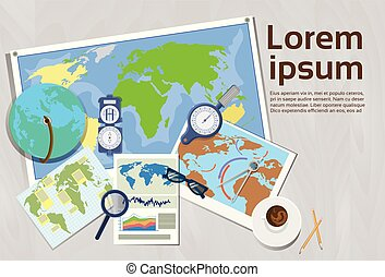 Geography And Cartography Concept Top Angle View Of...