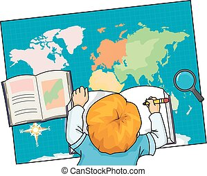 Geography Illustration of a Little Boy Writing Notes While Using