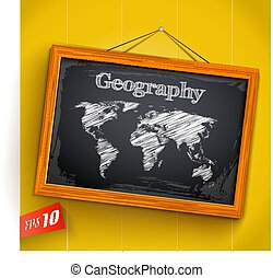 Geography On Chalkboard