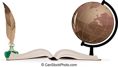 Geography - Open book, globe and feather on a white...