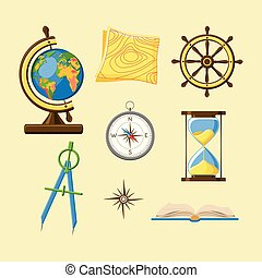 Geography school set with Earth globe, topography map, ship wheel, compass, hourglass, windrose and book icons.