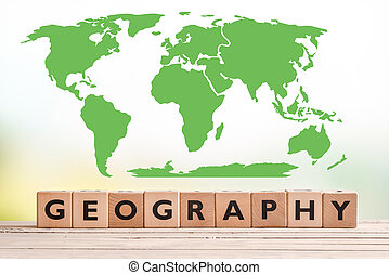 Geography sign with a world map